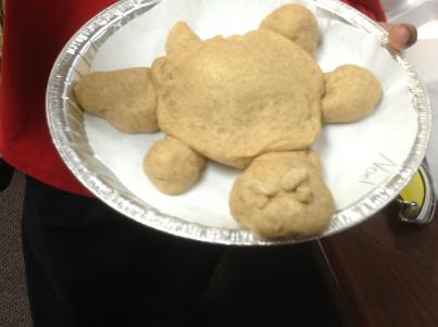 Turtle bread! Mrs. Pitcher taught us to make bread from scratch! We learned so much about grains from her lesson.